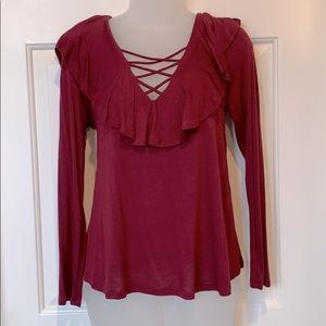 Gorgeous Cranberry/Wine Top. NWOT